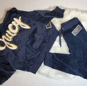 Juicy Couture Velour Graffiti Blue Tracksuit Set